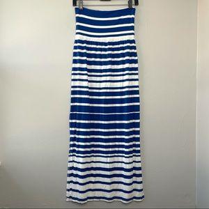 ATHLETA Seaside Foldover Blue Striped Maxi Skirt